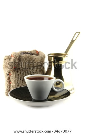 coffee cup with bag and turkish over white