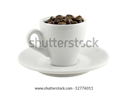 coffee cup with beans isolated on white background - stock photo