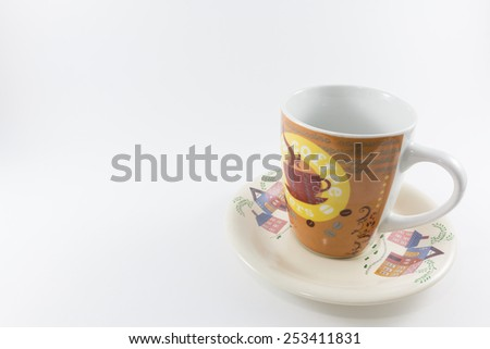 Coffee cup with beautiful paint. - stock photo