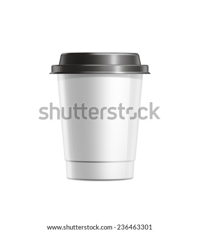 Coffee cup with black plastic lid isolated on white background - stock photo