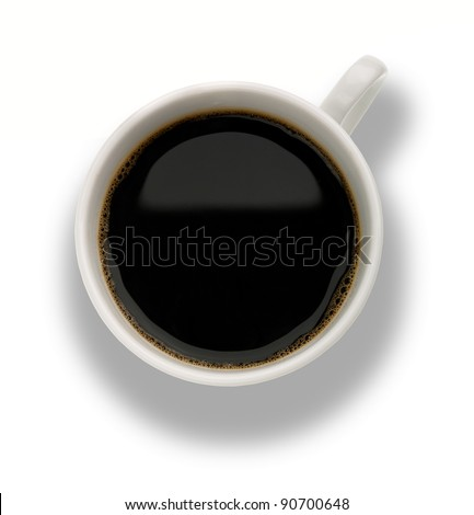Coffee cup with bubbles above the white backgrounds with clipping path - stock photo