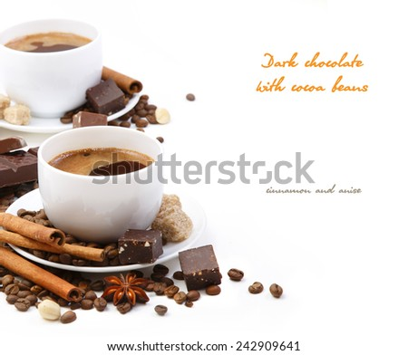 Coffee cup with Dark chocolate, coffee beans, cinnamon and anise on a white background - stock photo