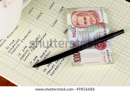 Coffee cup with general ledger sheet showing journal entries and black ballpoint pen with Italian one thousand lire bank note - stock photo