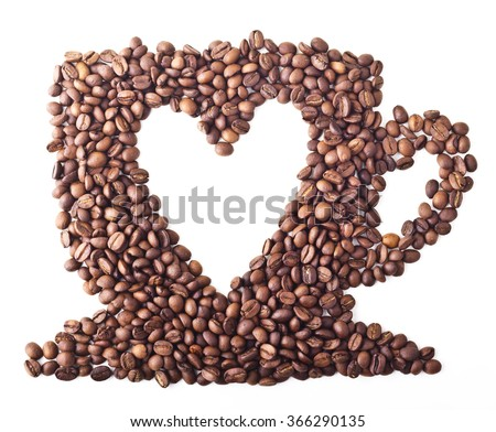 Coffee Cup with heart from Coffee beans on white isolated background - stock photo