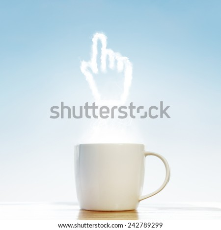 Coffee cup with Mouse hand cursor symbol - stock photo