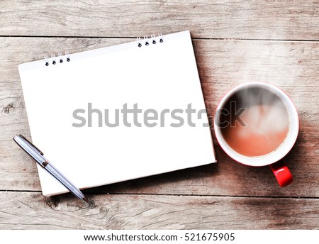 coffee cup with note paper on wood table
