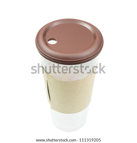 Coffee cup with paper collar - stock photo