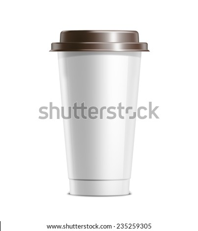 Coffee cup with plastic lid isolated on white background - stock photo