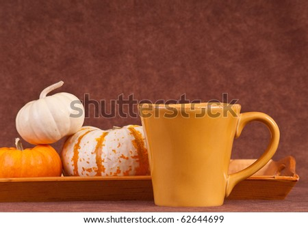 Coffee Cup with Pumpkins - stock photo