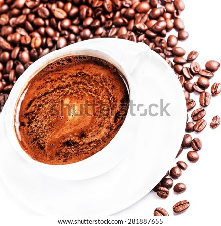 Coffee cup with roasted coffee beans isolated on a white background  - stock photo