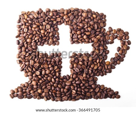 Coffee Cup with sight plus from Coffee beans on white isolated background - stock photo