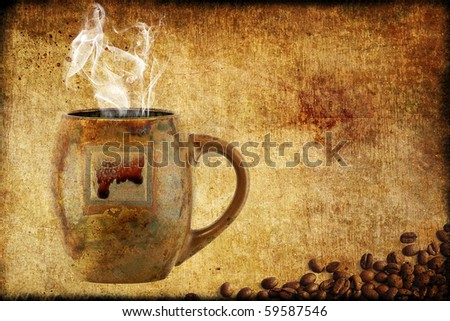 Coffee Cup With Smoke on Vintage Grungy Background - stock photo