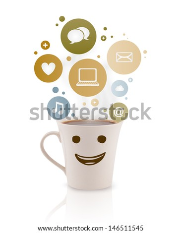 Coffee cup with social and media icons in colorful bubbles, isolated on white - stock photo