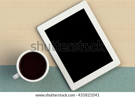 Coffee cup with tablet on blue fabric and wood table, 3D rendering
