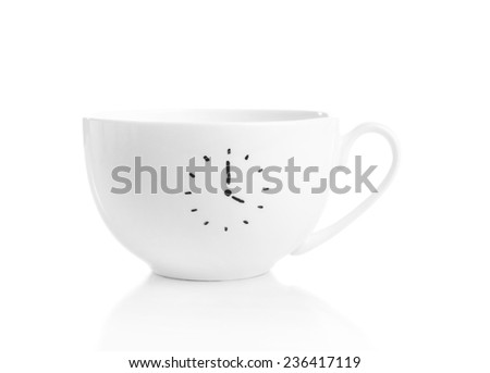 Coffee cup with time for coffee break, isolated on white - stock photo