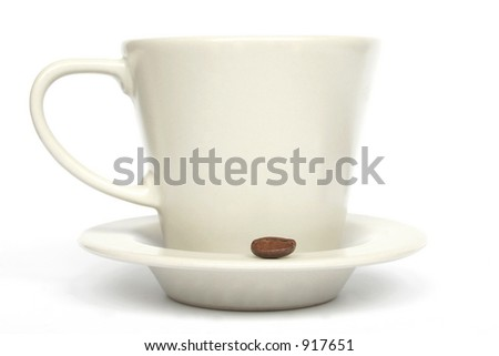 Coffee cupon white background with single coffee bean - stock photo