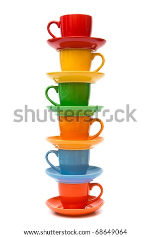 coffee cups and saucers on a white background - stock photo