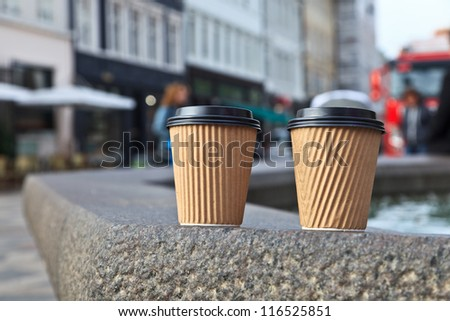 coffee cups in the city - stock photo