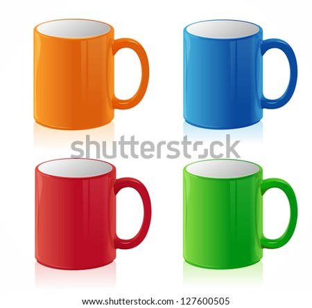 Coffee cups set on white - stock photo