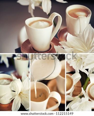 Coffee cups with flowers - stock photo