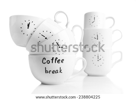 Coffee cups with time for coffee break, isolated on white - stock photo