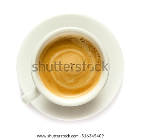 Coffee drink in a cup isolated on white background