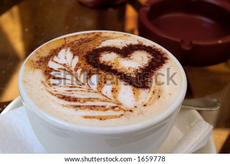 Coffee drink with heart and love - stock photo