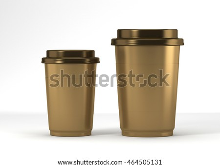 Coffee drinking cup sizes gold scheme 3d rendering