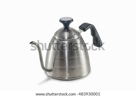 Coffee drip kettle on white background isolated.