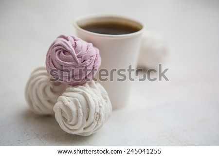 Coffee Espresso. Cup Of Coffee. Coffee in takeaway cup with dessert - stock photo