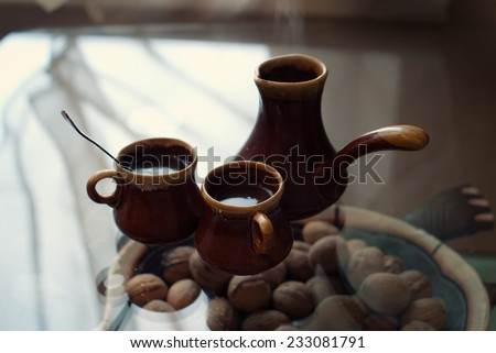 Coffee Espresso. Cup Of Coffee on dark background. Soft focus.  Food background.
