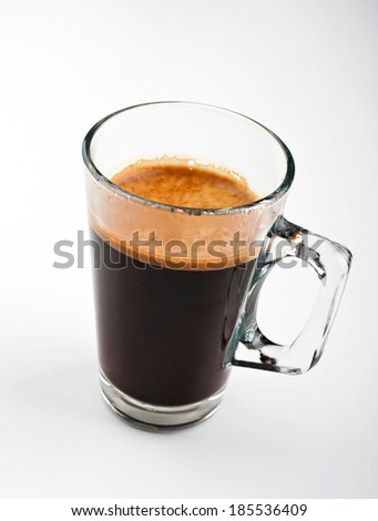 coffee espresso in glass mug.  - stock photo