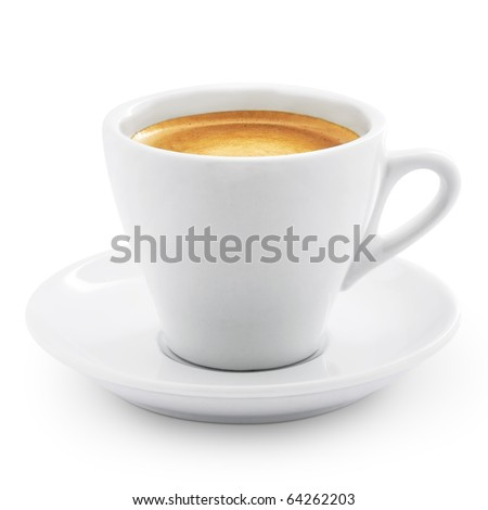 Coffee espresso isolated on white + Clipping Path - stock photo