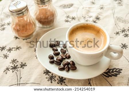 coffee espresso with coffee bean - stock photo