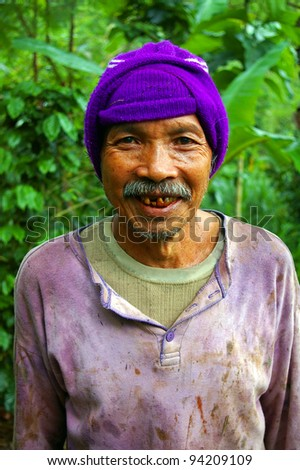 Coffee farmer in Bali, Indonesia.