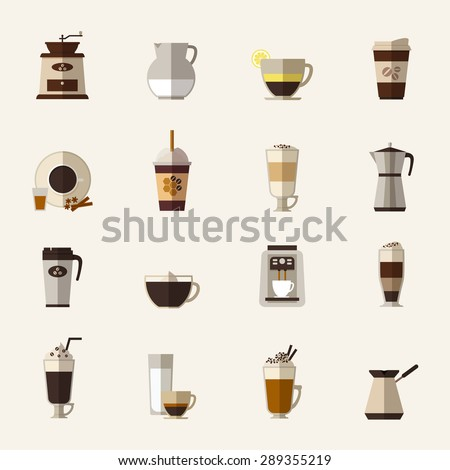 Coffee flat icons set. Cup and turk, grinder and maker, drink and latte, takeaway and mocha - stock photo
