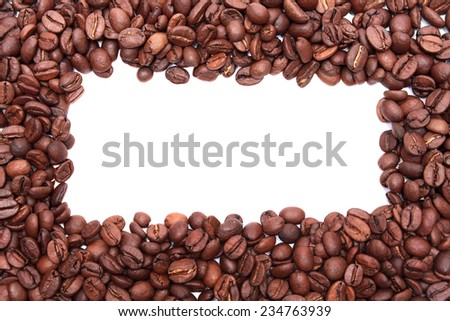 Coffee frame/Coffee beans on a white background.  - stock photo