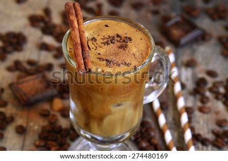 Coffee frappe - traditional recipe of greek cuisine.Summer drink. - stock photo
