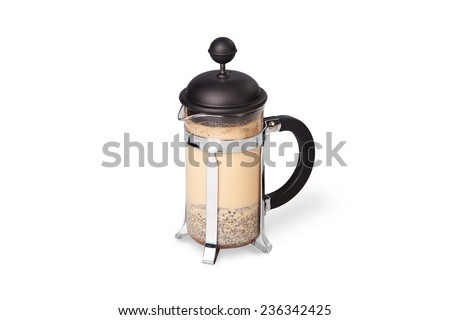 Coffee french-press on white background