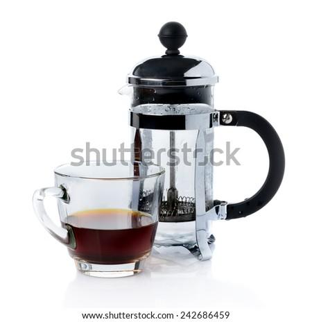 coffee french press pot  - stock photo