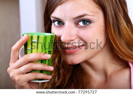 Coffee Girl with green mug