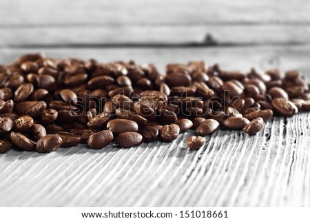 coffee grains and white space  - stock photo