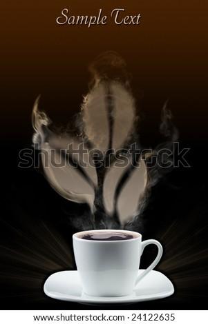 Coffee grains created by a smoke - stock photo