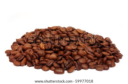 Coffee grains isolated on a white background - stock photo