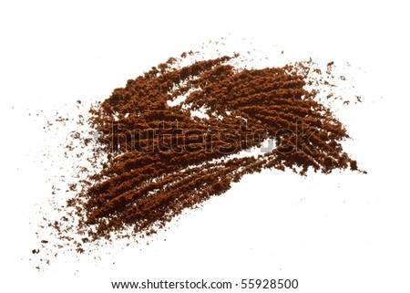 Coffee grains on the white - stock photo