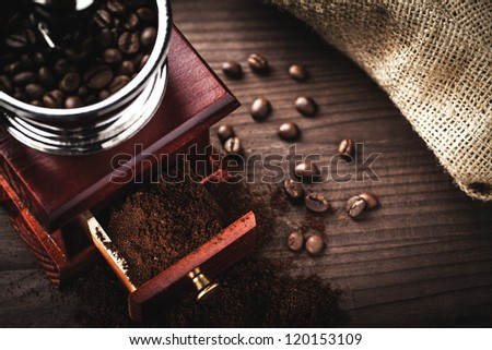 coffee grinder and beans - stock photo