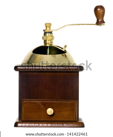 Coffee grinder in wooden case with golden top