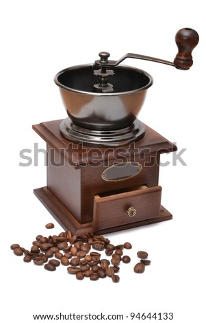 Coffee grinder on a white background - stock photo