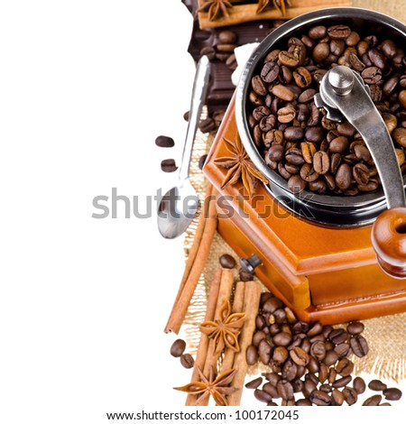 Coffee grinder on isolated white background - stock photo