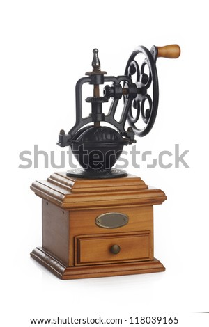 Coffee grinder on white background